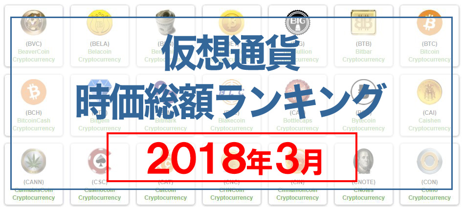 【3月】仮想通貨時価総額ランキング